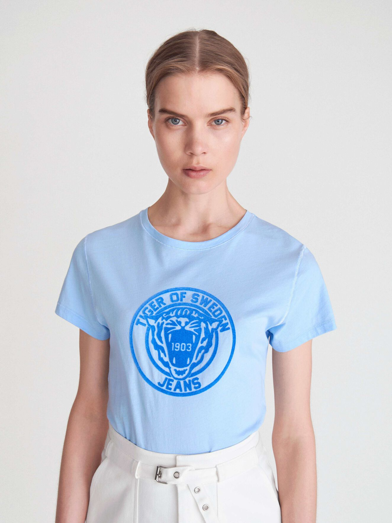 Nice Pr T-shirt in Chambray Blue from Tiger of Sweden