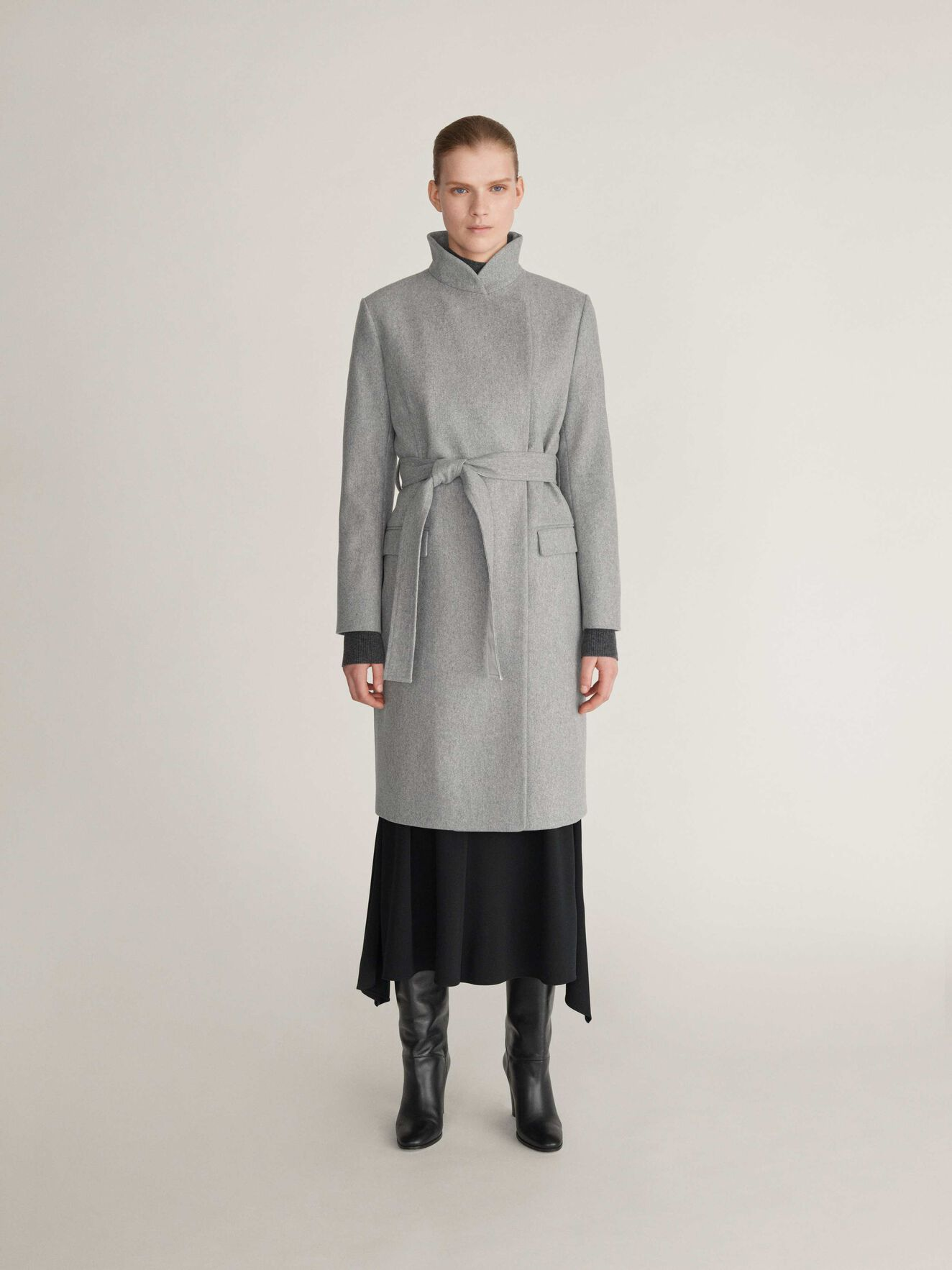 Knopp Coat in Light grey melange from Tiger of Sweden