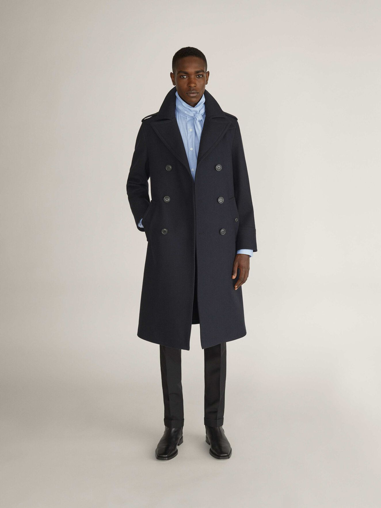 Cammel Coat in Dark Sea from Tiger of Sweden